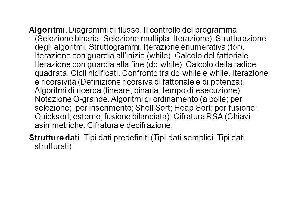 Algoritmi. Diagrammi di flusso. Il controllo del programma (Selezione binaria. Selezione multipla. Iterazione). Strutturazione degli algoritmi. Strutt