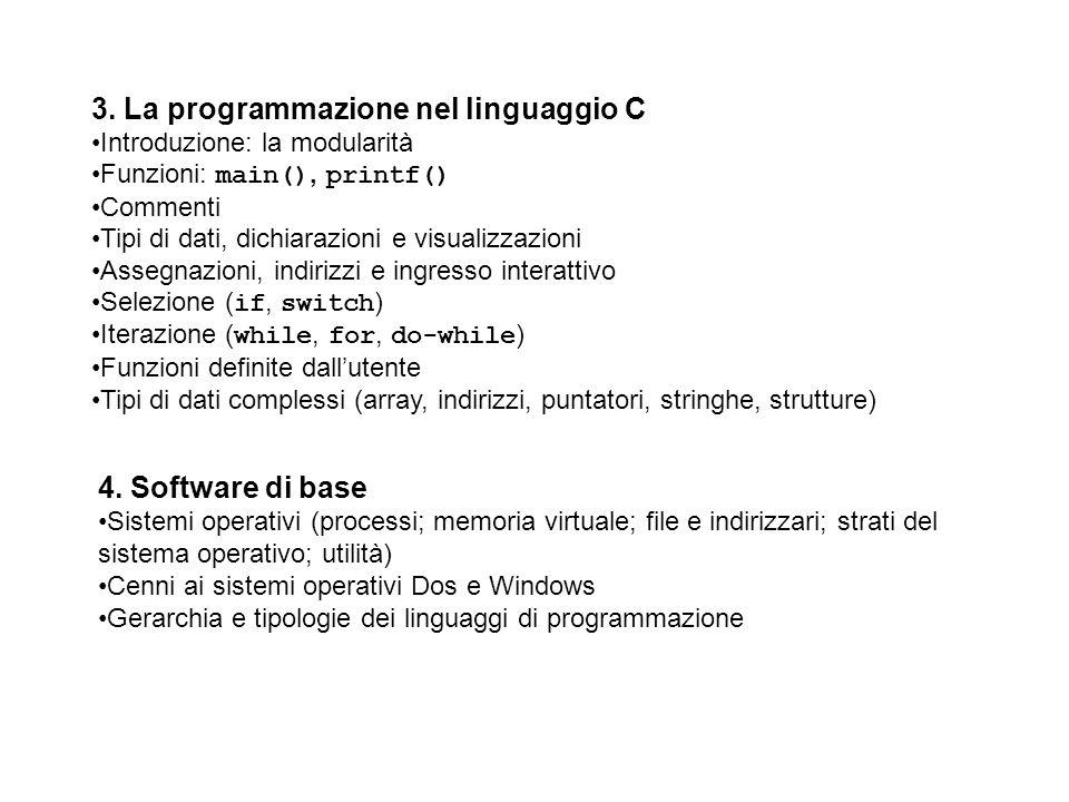 4. Software di base Sistemi operativi (processi; memoria virtuale; file e indirizzari; strati del sistema operativo; utilità) Cenni ai sistemi operati