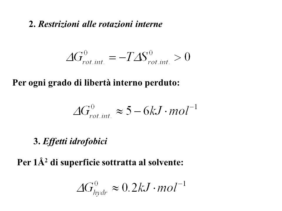 2. Restrizioni alle rotazioni interne Per ogni grado di libertà interno perduto: 3. Effetti idrofobici Per 1Å 2 di superficie sottratta al solvente: