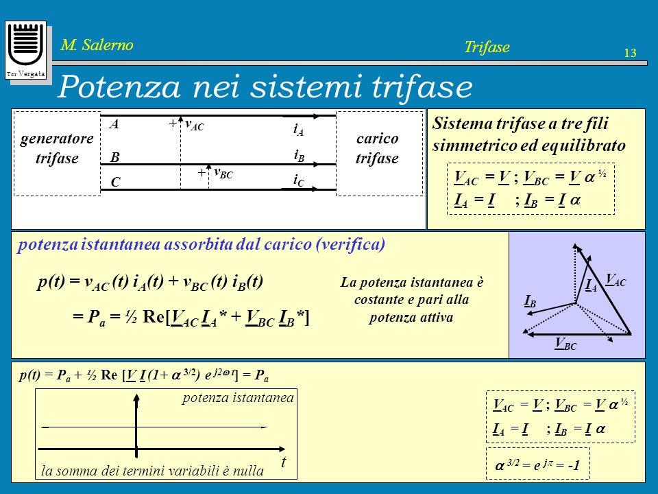 Tor Vergata M. Salerno Trifase 13 p = v AC i A + v BC i B P c = ½ [V AC I A * + V BC I B * ] potenza assorbita dal carico potenza istantanea potenza c