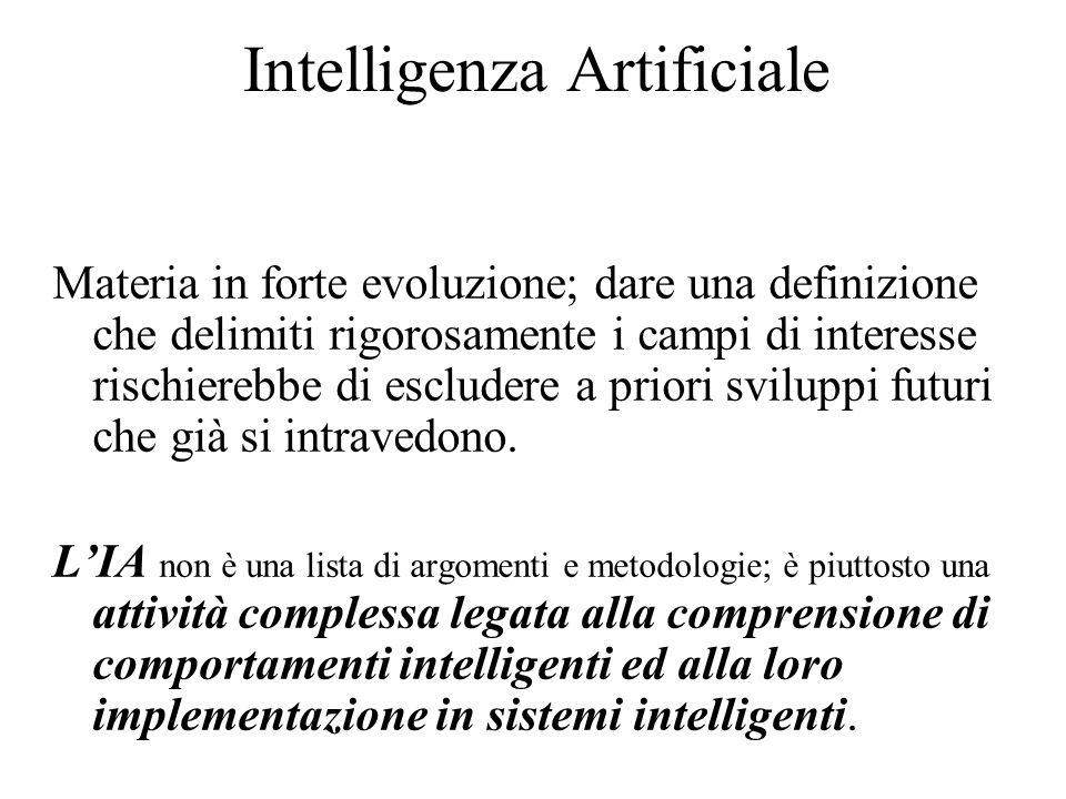 Intelligenza Artificiale Materia in forte evoluzione; dare una definizione che delimiti rigorosamente i campi di interesse rischierebbe di escludere a priori sviluppi futuri che già si intravedono.