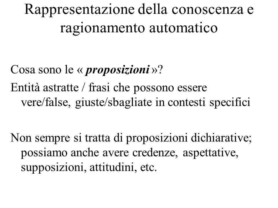Rappresentazione della conoscenza e ragionamento automatico Cosa sono le « proposizioni ».