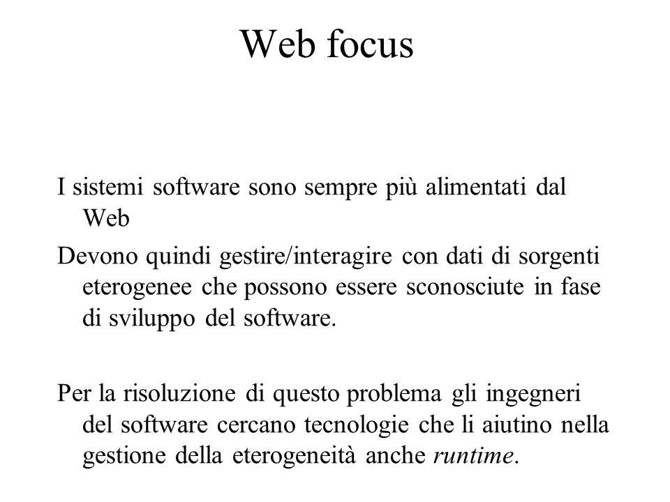 Web focus I sistemi software sono sempre più alimentati dal Web Devono quindi gestire/interagire con dati di sorgenti eterogenee che possono essere sconosciute in fase di sviluppo del software.