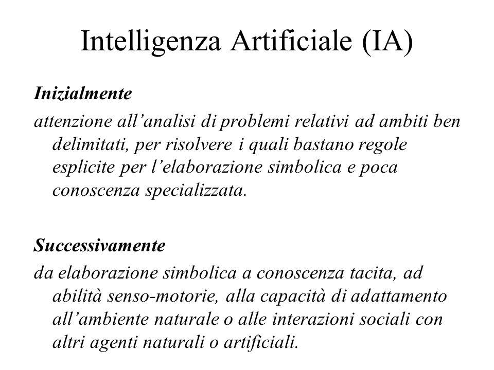 Intelligenza Artificiale (IA) Inizialmente attenzione allanalisi di problemi relativi ad ambiti ben delimitati, per risolvere i quali bastano regole esplicite per lelaborazione simbolica e poca conoscenza specializzata.