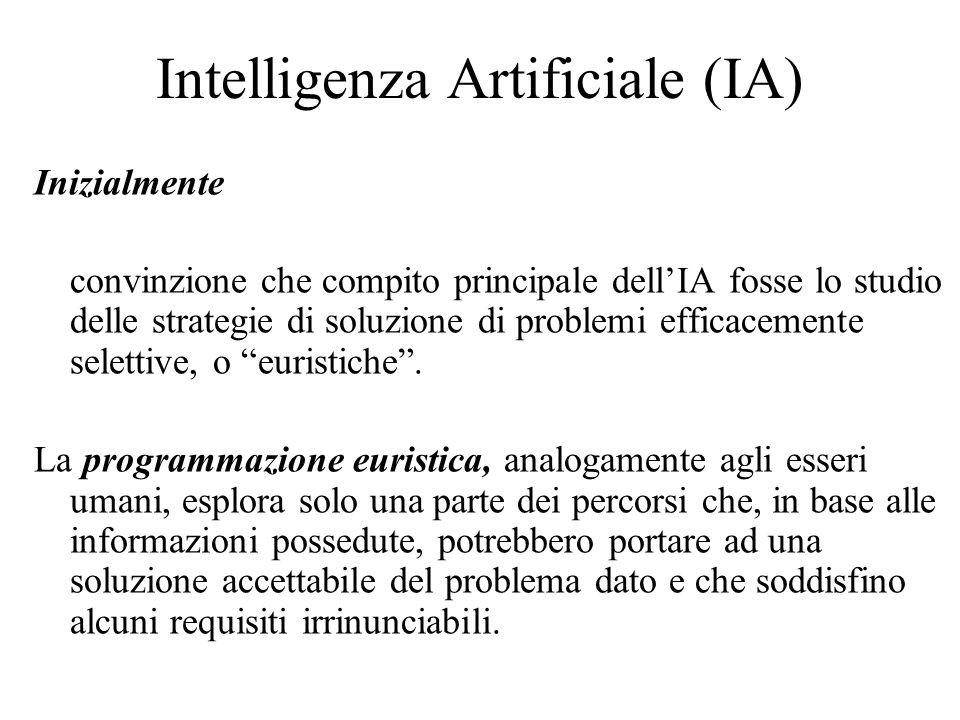 Intelligenza Artificiale (IA) Inizialmente convinzione che compito principale dellIA fosse lo studio delle strategie di soluzione di problemi efficacemente selettive, o euristiche.