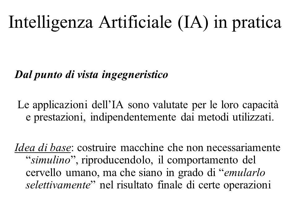 Intelligenza Artificiale (IA) in pratica Dal punto di vista ingegneristico Le applicazioni dellIA sono valutate per le loro capacità e prestazioni, indipendentemente dai metodi utilizzati.