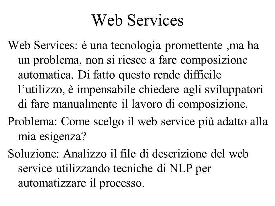 Web Services Web Services: è una tecnologia promettente,ma ha un problema, non si riesce a fare composizione automatica.