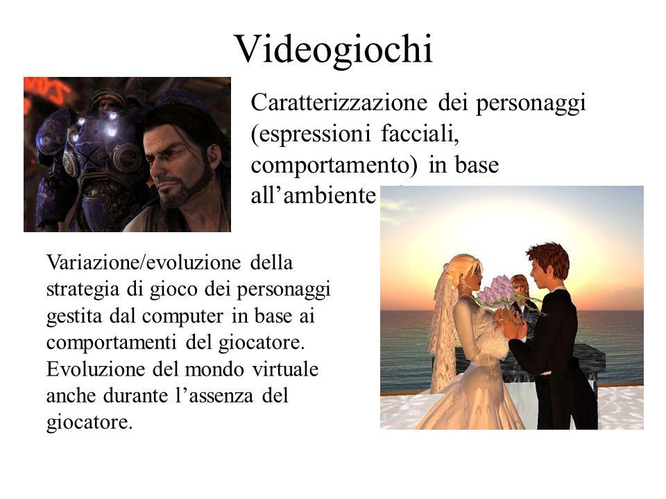 Videogiochi Caratterizzazione dei personaggi (espressioni facciali, comportamento) in base allambiente circostante.