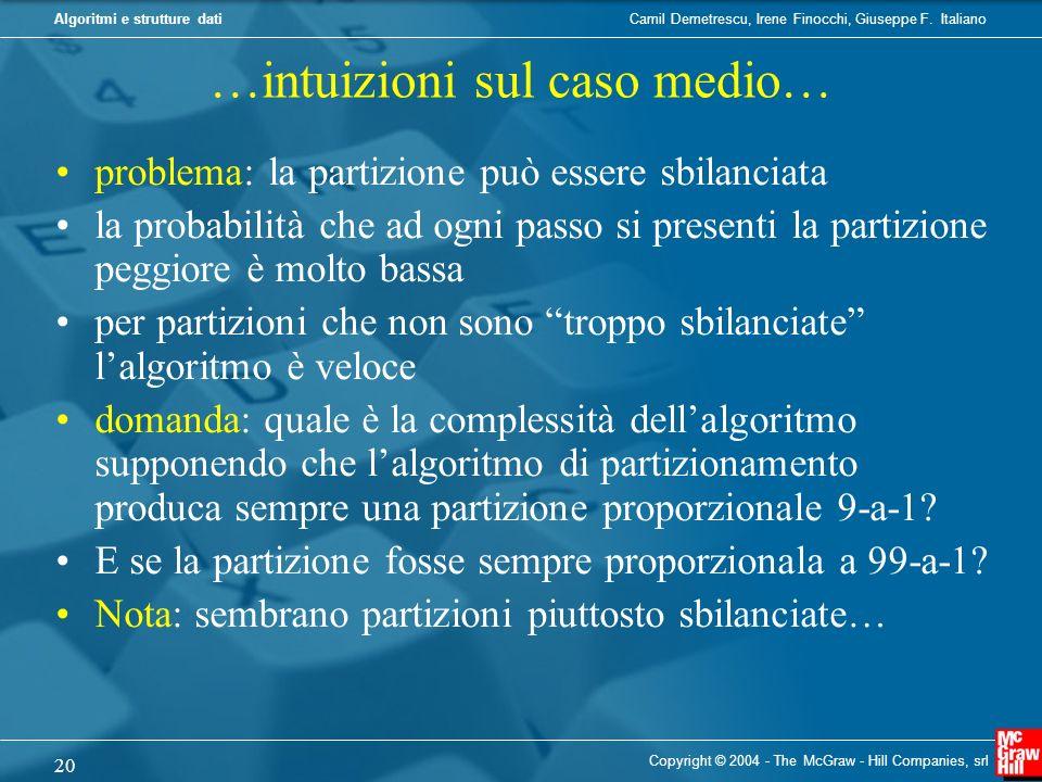 Camil Demetrescu, Irene Finocchi, Giuseppe F. ItalianoAlgoritmi e strutture dati Copyright © 2004 - The McGraw - Hill Companies, srl 20 …intuizioni su
