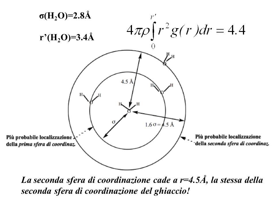 r(H 2 O)=3.4Å La seconda sfera di coordinazione cade a r=4.5Å, la stessa della seconda sfera di coordinazione del ghiaccio!