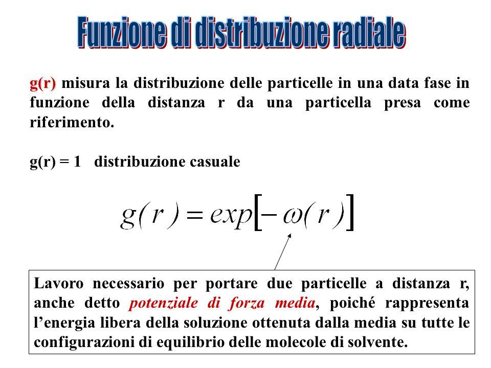 g(r) g(r) misura la distribuzione delle particelle in una data fase in funzione della distanza r da una particella presa come riferimento. g(r) = 1 di