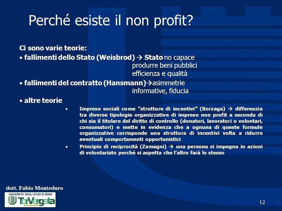 dott. Fabio Monteduro 12 Perché esiste il non profit? Ci sono varie teorie: fallimenti dello Stato (Weisbrod) Stato no capace produrre beni pubblici e