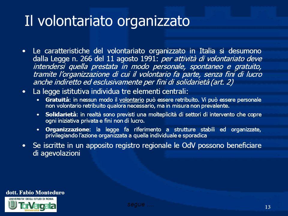 dott. Fabio Monteduro 13 Il volontariato organizzato Le caratteristiche del volontariato organizzato in Italia si desumono dalla Legge n. 266 del 11 a
