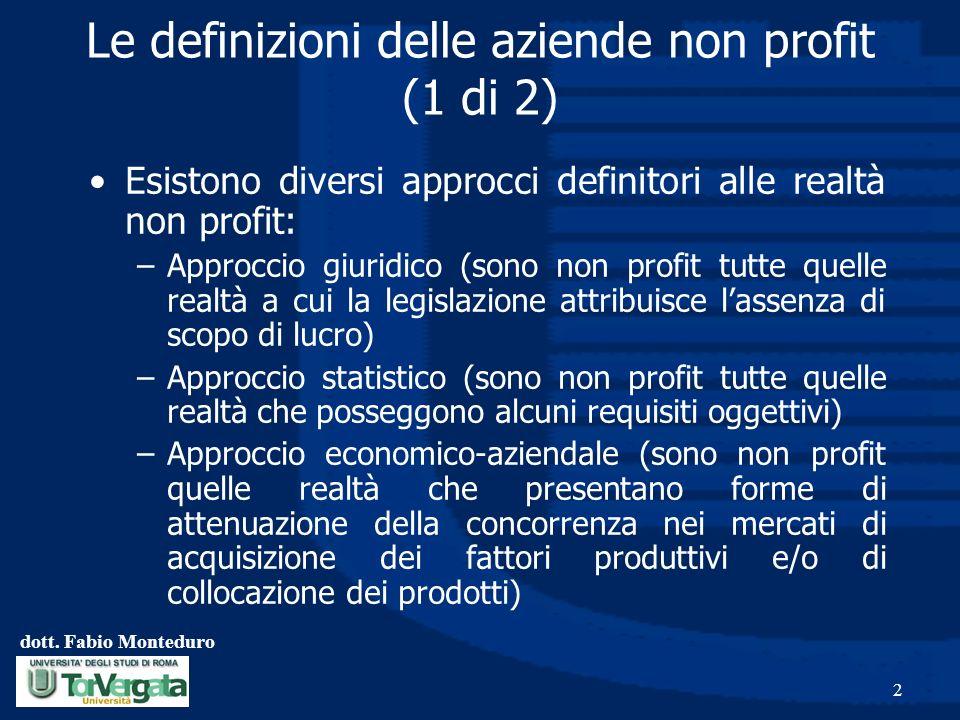 dott. Fabio Monteduro 2 Le definizioni delle aziende non profit (1 di 2) Esistono diversi approcci definitori alle realtà non profit: –Approccio giuri