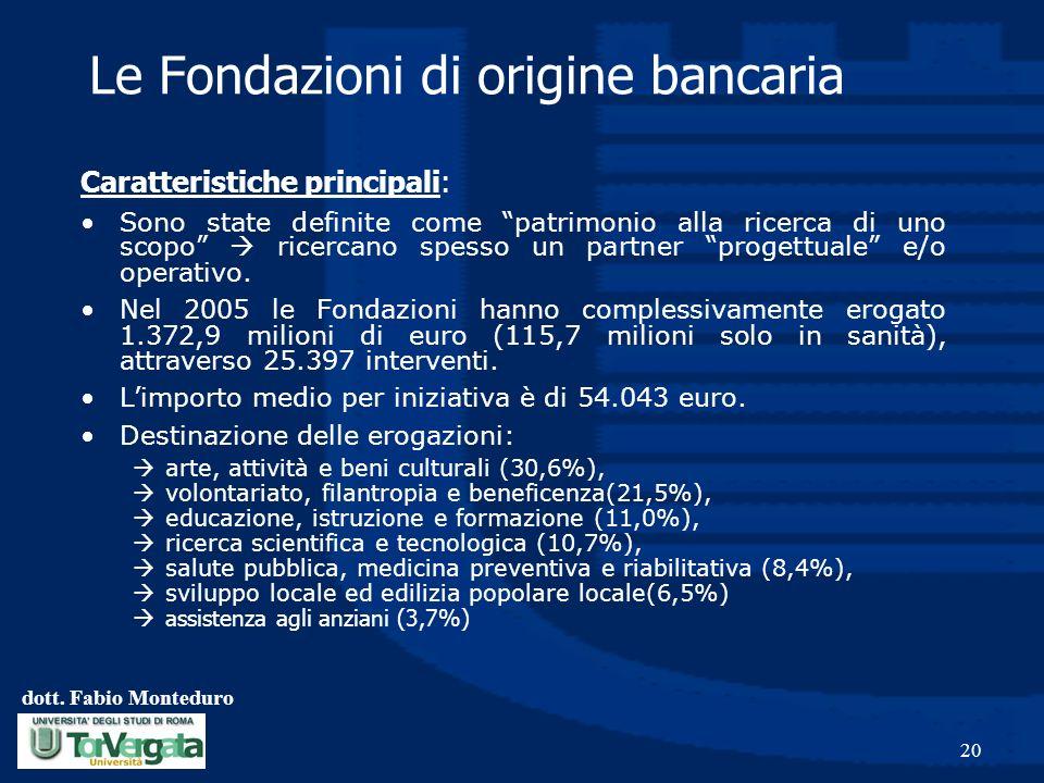dott. Fabio Monteduro 20 Le Fondazioni di origine bancaria Caratteristiche principali: Sono state definite come patrimonio alla ricerca di uno scopo r