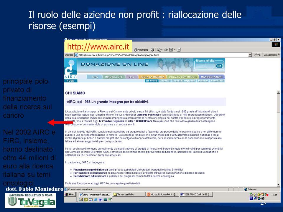 dott. Fabio Monteduro 25 Il ruolo delle aziende non profit : riallocazione delle risorse (esempi) http://www.airc.it principale polo privato di finanz