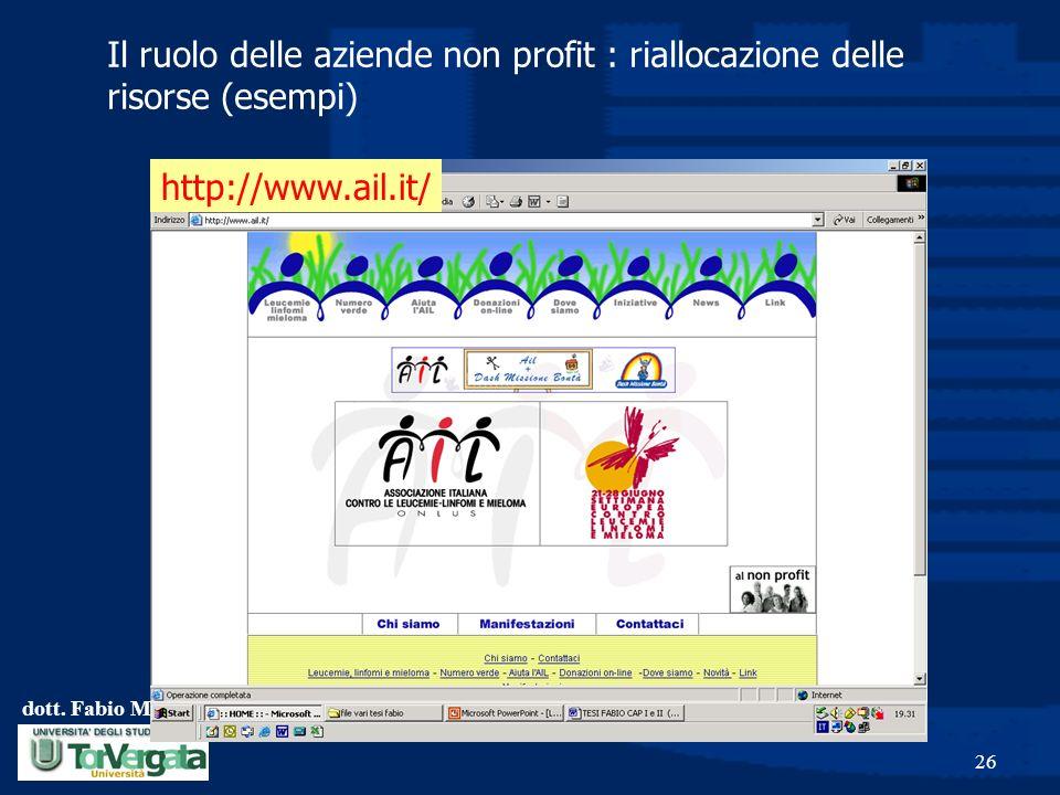 dott. Fabio Monteduro 26 Il ruolo delle aziende non profit : riallocazione delle risorse (esempi) http://www.ail.it/