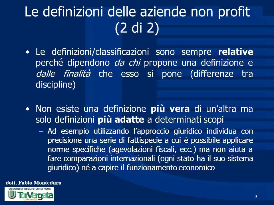 dott. Fabio Monteduro 3 Le definizioni delle aziende non profit (2 di 2) Le definizioni/classificazioni sono sempre relative perché dipendono da chi p
