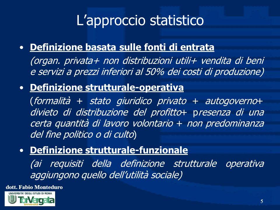 dott. Fabio Monteduro 5 Lapproccio statistico Definizione basata sulle fonti di entrata (organ. privata+ non distribuzioni utili+ vendita di beni e se