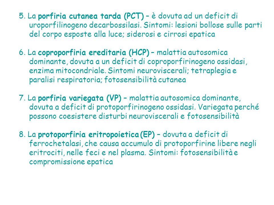 5.La porfiria cutanea tarda (PCT) – è dovuta ad un deficit di uroporfilinogeno decarbossilasi.