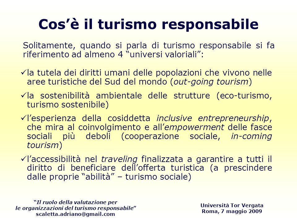 Il ruolo della valutazione per le organizzazioni del turismo responsabile scaletta.adriano@gmail.com Università Tor Vergata Roma, 7 maggio 2009 Aspetti ambientali DimensioniIndicatori Qualità dellariaNumero di giorni in cui si sono superati gli standard.