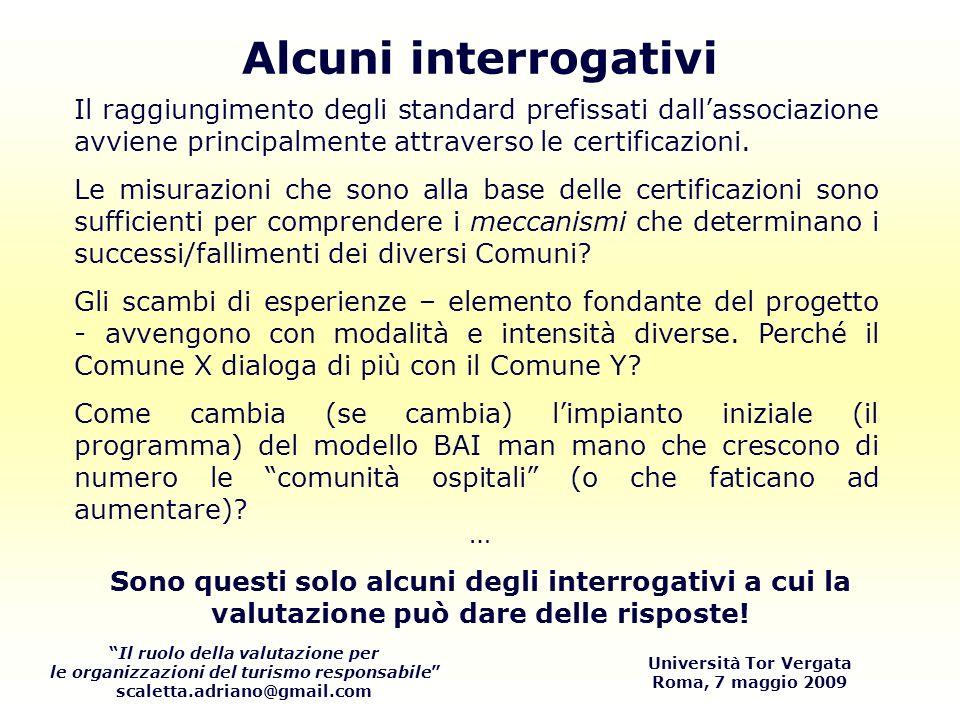 Il ruolo della valutazione per le organizzazioni del turismo responsabile scaletta.adriano@gmail.com Università Tor Vergata Roma, 7 maggio 2009 Il raggiungimento degli standard prefissati dallassociazione avviene principalmente attraverso le certificazioni.