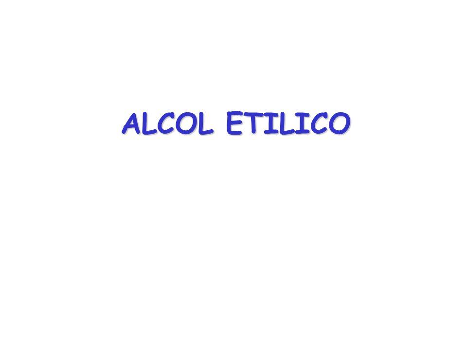 UNITÀ ALCOLICA = 12 grammi di alcol 40 20 8 4,5 12 Grado alcolico (% vol) Apporto calorico (kcal) Quantità di alcol (g) Misura standard (ml) BEVANDA ALCOLICA 941340 Brandy,cognac, grappa whisky, vodka, rhum 1151275Porto, aperitivi 17012200Birra doppio malto 10012330Birra 8412125Vino grammi di alcol = % vol per 0,8 (peso specifico dellalcol) % vol = ml di alcol / 100 ml di bevanda