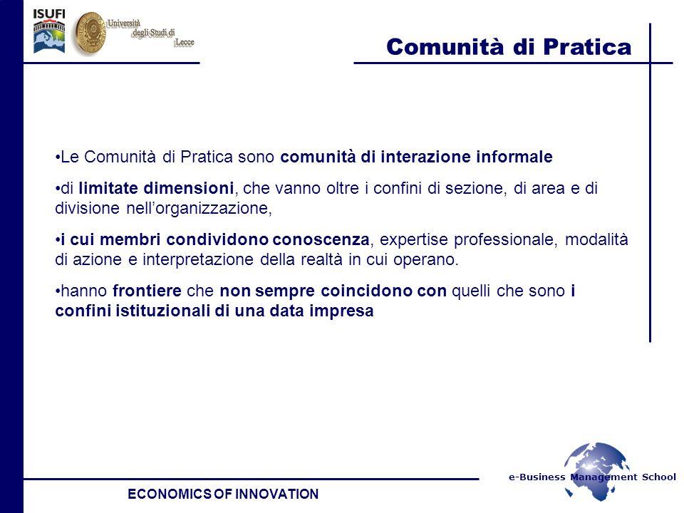 e-Business Management School Comunità di Pratica ECONOMICS OF INNOVATION Le Comunità di Pratica sono comunità di interazione informale di limitate dim