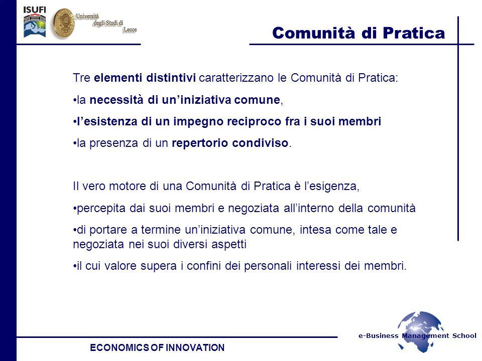 e-Business Management School Comunità di Pratica ECONOMICS OF INNOVATION Tre elementi distintivi caratterizzano le Comunità di Pratica: la necessità d