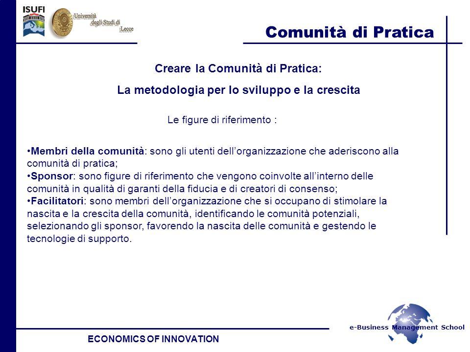e-Business Management School Comunità di Pratica ECONOMICS OF INNOVATION Creare la Comunità di Pratica: La metodologia per lo sviluppo e la crescita L