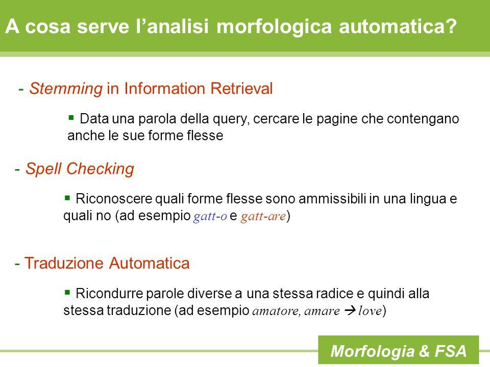 A cosa serve lanalisi morfologica automatica? - Stemming in Information Retrieval Data una parola della query, cercare le pagine che contengano anche