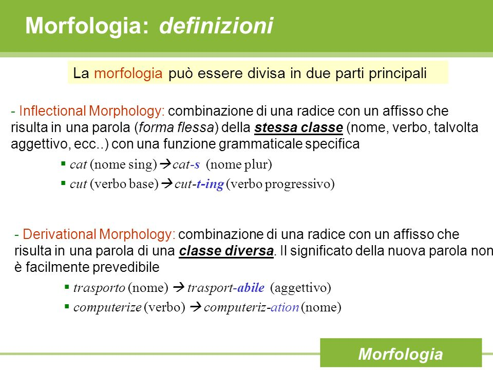 Morfologia: definizioni - Inflectional Morphology: combinazione di una radice con un affisso che risulta in una parola (forma flessa) della stessa cla