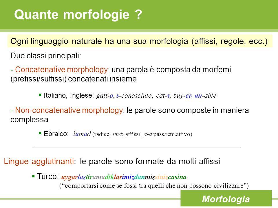 Morfologia inglese Caratteristiche: - Concatenative morphology - Non-agglutinative (al più 4 o 5 affissi) - Una parola può avere più affissi: - Prefissi: un-certain - Suffissi: eat-s - Combinazioni: un-clear-ly - Inflectional morphology: semplice, applicata solo a nomi e verbi - Derivational Morphology: complessa Morfologia