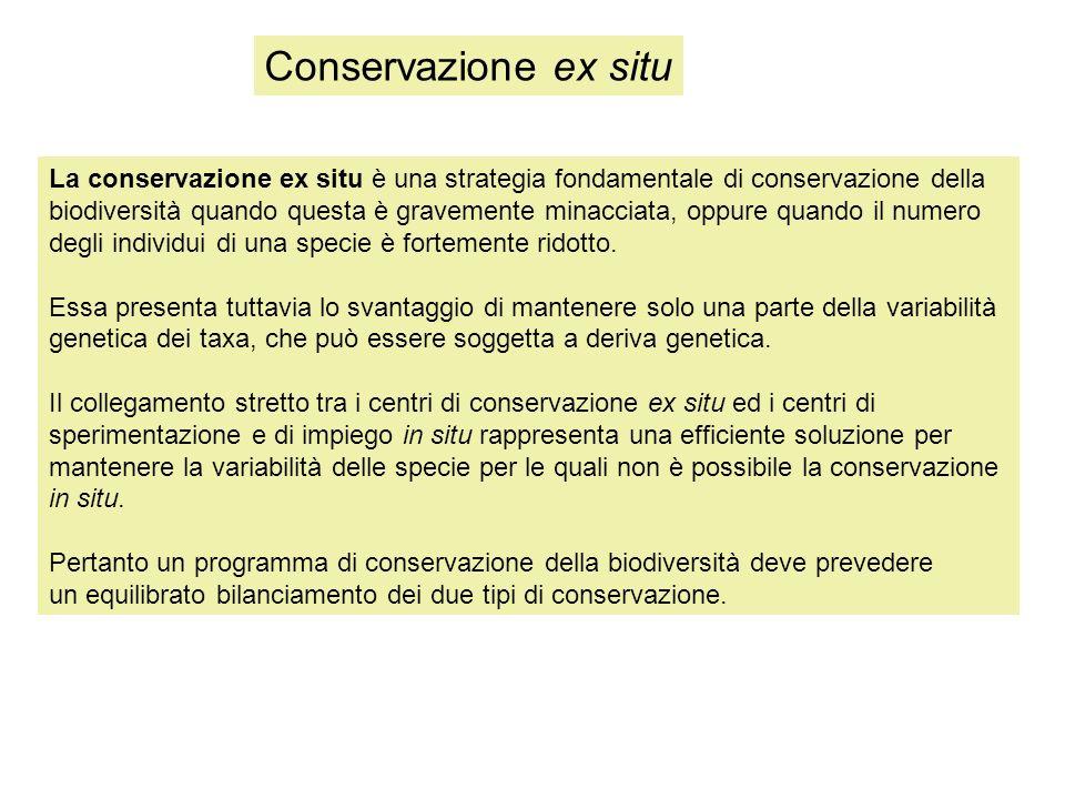 La conservazione ex situ è una strategia fondamentale di conservazione della biodiversità quando questa è gravemente minacciata, oppure quando il numero degli individui di una specie è fortemente ridotto.