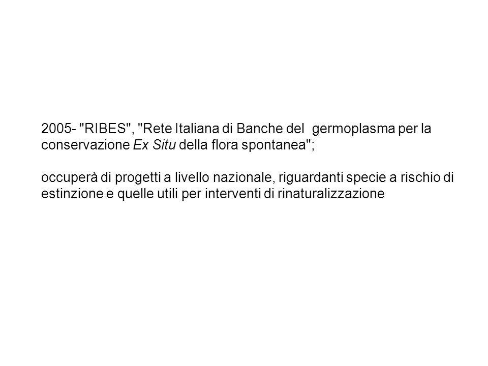 2005- RIBES , Rete Italiana di Banche del germoplasma per la conservazione Ex Situ della flora spontanea ; occuperà di progetti a livello nazionale, riguardanti specie a rischio di estinzione e quelle utili per interventi di rinaturalizzazione