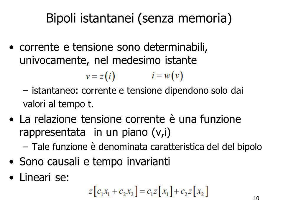11 Bipolo non istantaneo un bipolo non istantaneo è detto con memoria perché per determinare v o i al tempo t O occorre conoscere i valori nei tempi precedenti.