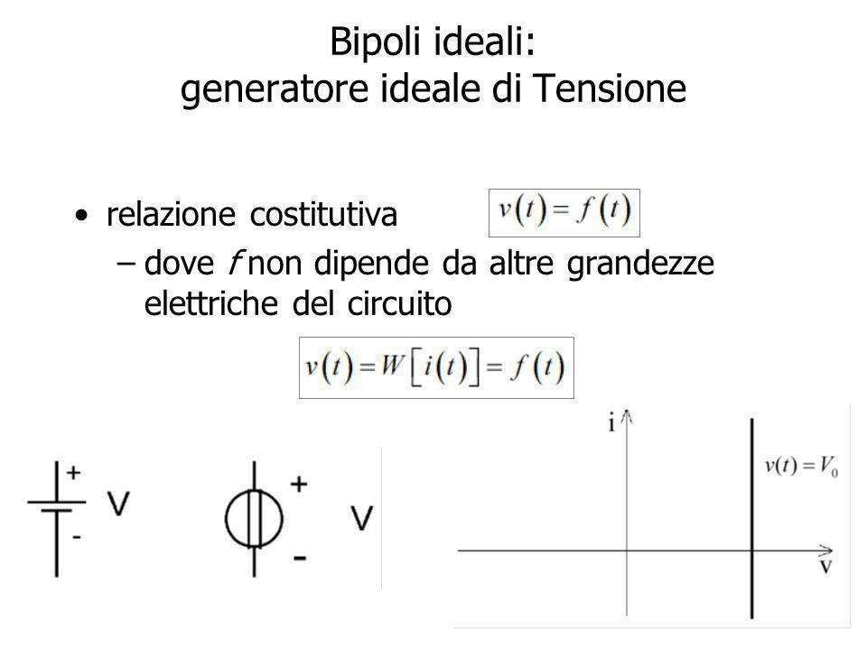 12 Bipoli ideali: generatore ideale di Tensione relazione costitutiva –dove f non dipende da altre grandezze elettriche del circuito