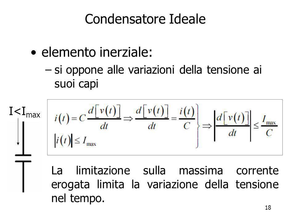 18 Condensatore Ideale elemento inerziale: –si oppone alle variazioni della tensione ai suoi capi I<I max La limitazione sulla massima corrente erogat