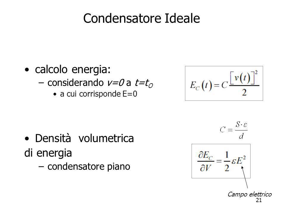 21 Condensatore Ideale calcolo energia: –considerando v=0 a t=t O a cui corrisponde E=0 Densità volumetrica di energia –condensatore piano Campo elett