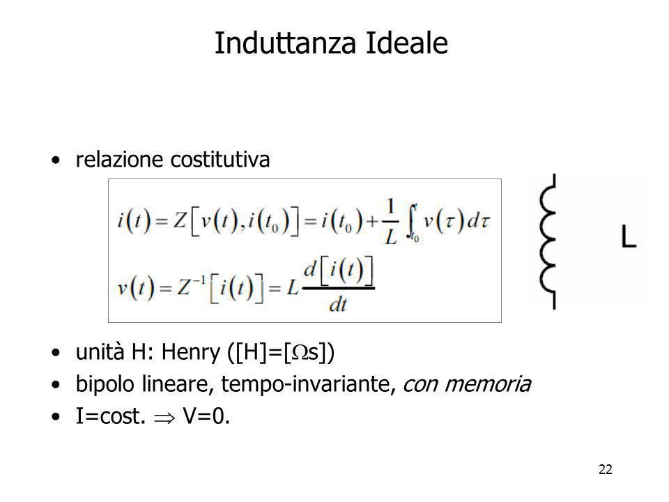 22 Induttanza Ideale relazione costitutiva unità H: Henry ([H]=[ s]) bipolo lineare, tempo-invariante, con memoria I=cost. V=0.