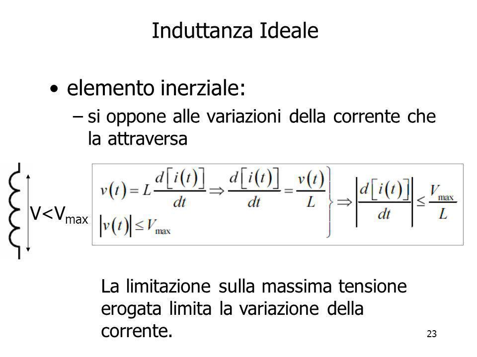 23 Induttanza Ideale elemento inerziale: –si oppone alle variazioni della corrente che la attraversa V<V max La limitazione sulla massima tensione ero