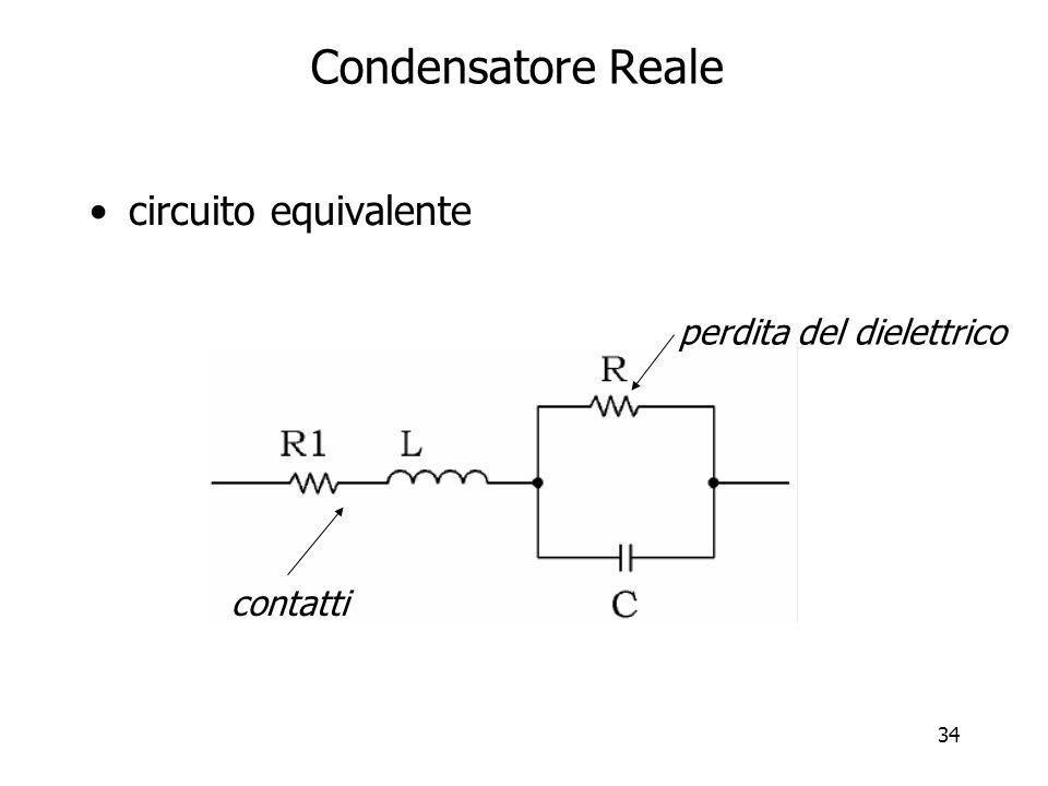 34 Condensatore Reale circuito equivalente perdita del dielettrico contatti