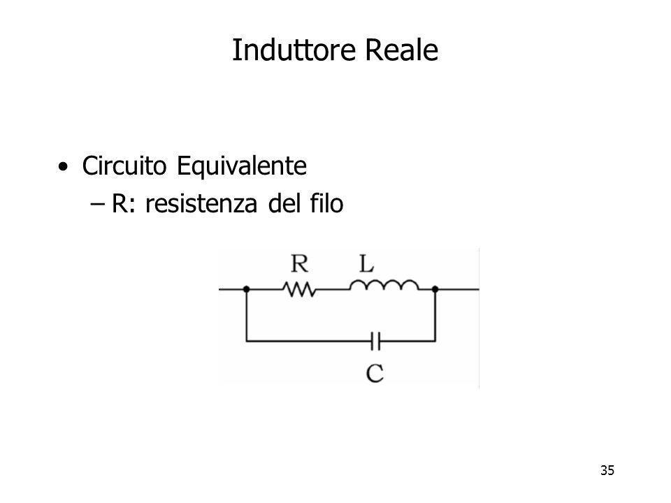 35 Induttore Reale Circuito Equivalente –R: resistenza del filo