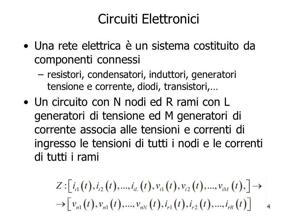 4 Circuiti Elettronici Una rete elettrica è un sistema costituito da componenti connessi –resistori, condensatori, induttori, generatori tensione e co