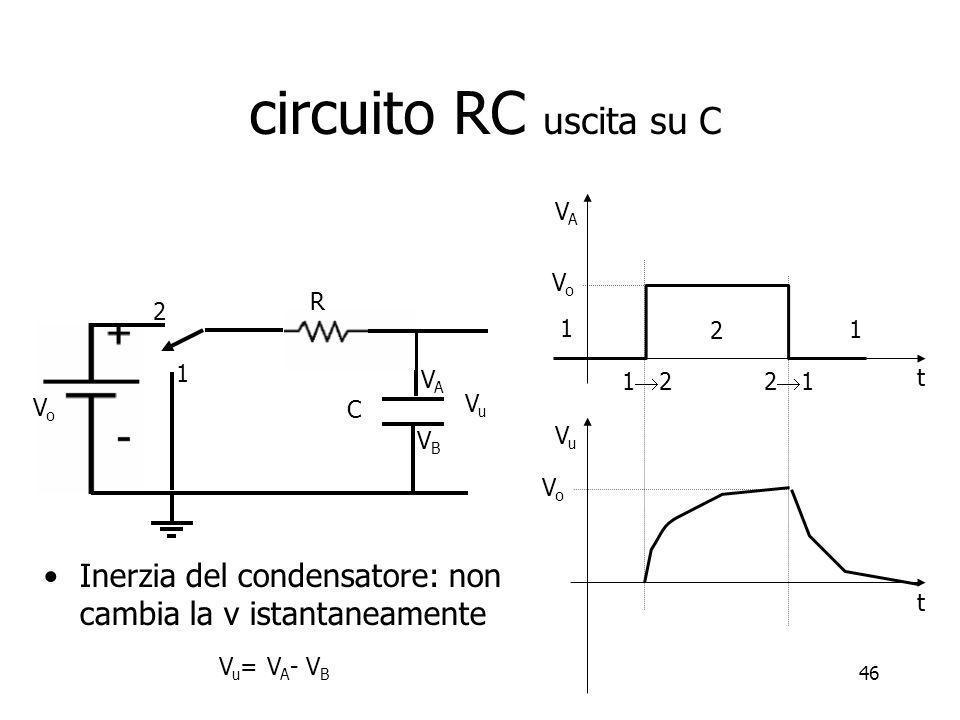46 1 2 1 1 2 2 1 VAVA t Inerzia del condensatore: non cambia la v istantaneamente VuVu t V u = V A - V B VoVo VoVo 1 2 C VoVo VuVu VBVB VAVA R circuit