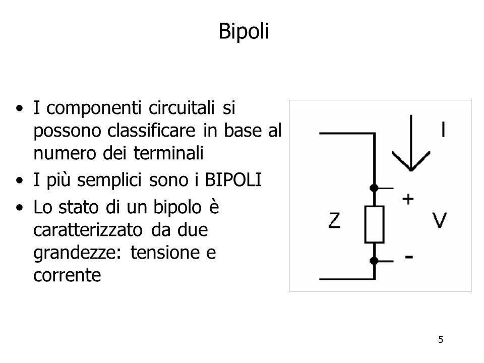 5 Bipoli I componenti circuitali si possono classificare in base al numero dei terminali I più semplici sono i BIPOLI Lo stato di un bipolo è caratter