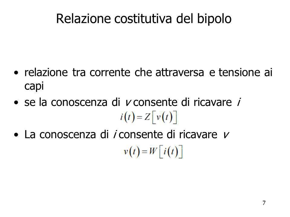 8 Relazione costitutiva In generale i bipoli definiscono sia Z che W –eccezione: generatori di corrente e tensione