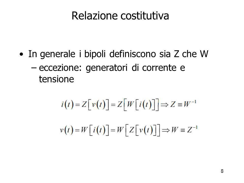 9 Proprietà del bipolo Le proprietà del bipolo dipendono dalle proprietà degli operatori Z e W –in particolare: linearità invarianza temporale causalità