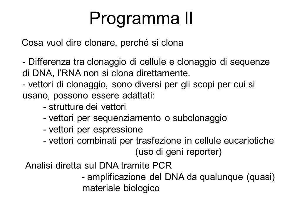 Programma III cercare sequenze di DNA in banca dati: per analogia, per funzione, per specie e fila, per identit à banche dati per categorie: genomiche, EST, cDNA, micro RNA, http://www.ncbi.nlm.nih.gov uso di parole chiave Manipolazione degli acidi nucleici Analisi in Silicio, in vitro, in vivo in silicio: Dal silicio al vitro: in vitro veritas Tecnica universalmente più diffusa : PCR