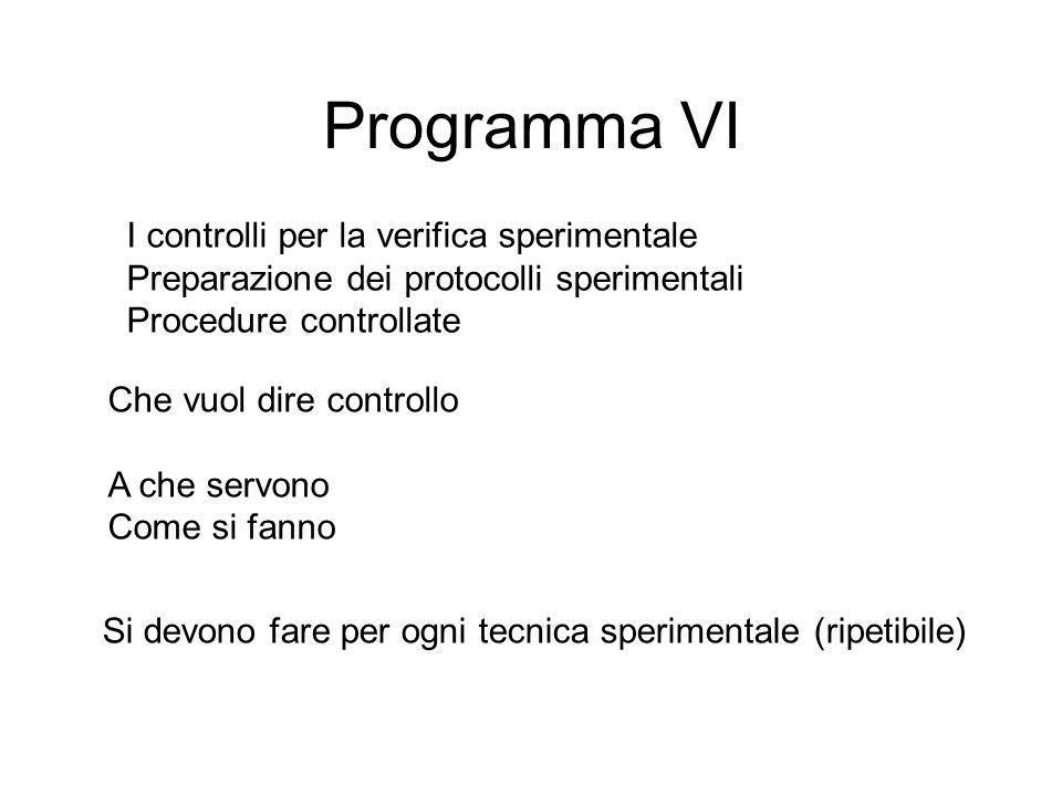 Programma VI I controlli per la verifica sperimentale Preparazione dei protocolli sperimentali Procedure controllate Che vuol dire controllo A che ser